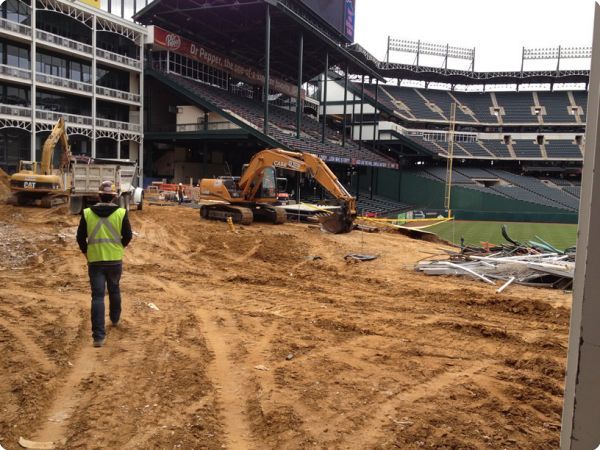 <strong>Ballpark in Arlington</strong><br />Demolition of centerfield stands and visitors bullpen in preparation of remodeling for the Texas Rangers 2012 season