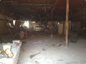 Restaurant interior demolition in Dallas.