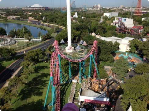 <strong>Six Flags 3</strong><br />Deconstruction of The Flashback and excavation of supporting piers to make room for the implosion of the Texas Chute Out and installation of the new 450' tall ride named the Skyscream
