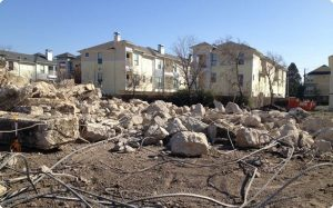 One of the concrete slabs of the 750,000 square foot apartment complex demolished to the ground in North Dallas.